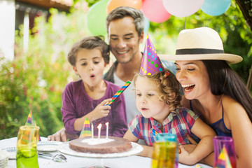 garden party with family for little girl's birthday