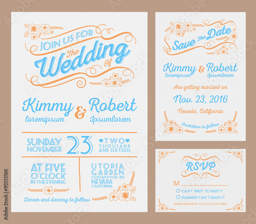 letterpress wedding invitation collection package include the