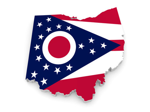 Geographic border map and flag of Ohio, The Buckeye State