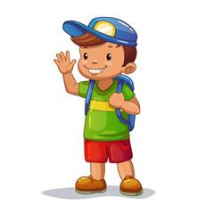 Funny cartoon little boy with school bag