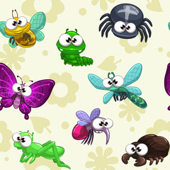 Seamless pattern with funny cartoon insects