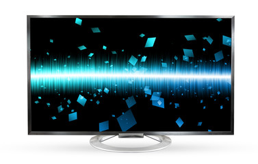 Television monitor soundwave screen isolated on white background