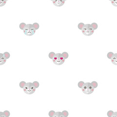 Vector flat cartoon mouse heads with different emotions seamless