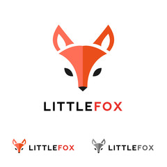 Vector minimalistic red fox head logo in flat style