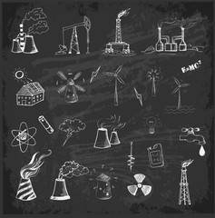 Sketches of  sources of energy
