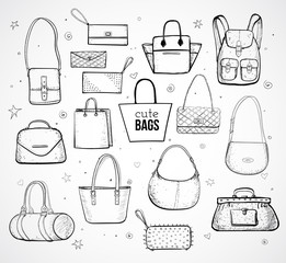 Sketches of bags. Vector fashion illustratio