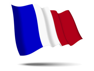 illustration france flag waving Isolated on White Background,vector