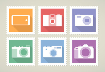 Postage stamps with cameras