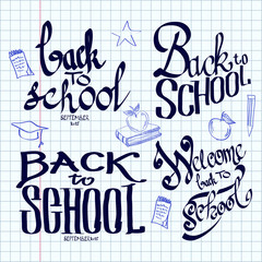 Back to school lettering and calligraphic on a sheet of exercise