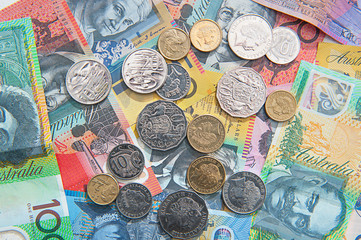 Australian currency, coins, bank notes background