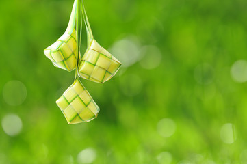 Ketupat or rice dumpling is a local delicacy during the festive season. Ketupat, a natural rice casing made from young coconut leaves for cooking rice on a bokeh or blur background.