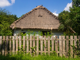 Straw-thatched house