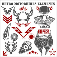 Design elements on white background for vintage motorbikes -