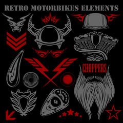 Design elements on black background for vintage motorbikes -