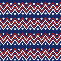 Seamless patterns with  Stars and Stripes Ornamental Design. Endless texture can be used for printing onto fabric and paper or scrap booking