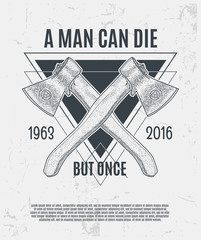 Two dotwork axes with modern street style attributes. Grunge print template. Vector art.