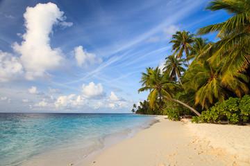 tropical sand beach against blue sky