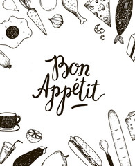 Estores personalizados con tu foto Vector Bon Appetit graphic poster with food illustrations.