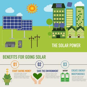 Solar power benefit infographic vector. illustration EPS10.