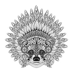 Hand Drawn Raccoon in Feathered War bonnet in zentangle style, h