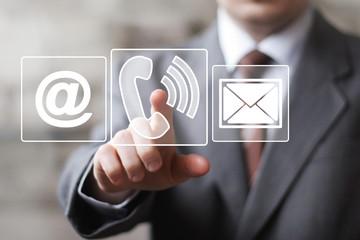 Businessman hand press telephone online button icon