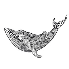 Zentangle stylized Sea Whale. Hand Drawn vector illustration iso