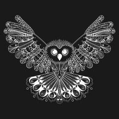 Zentangle stylized White Owl. Hand Drawn vector illustration iso
