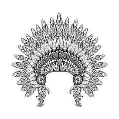 Hand Drawn Feathered War bonnet in zentangle style, high dataile