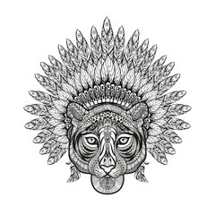 Hand Drawn patterned Tiger in zentangle style with Feathered War
