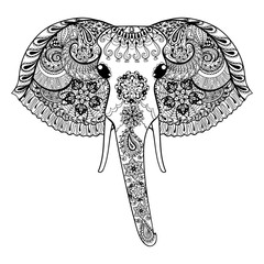 Zentangle stylized Indian Elephant. Hand Drawn paisley vector il