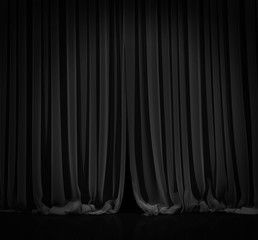 Black curtain in theater.