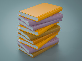 Empty colored books mockup template. High resolution.