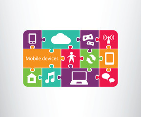 Mobile devices.cloud and internet icons set, jigsaw/puzzle layout, vector