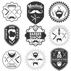 Set of vintage barber shop logo templates, labels and badges mad