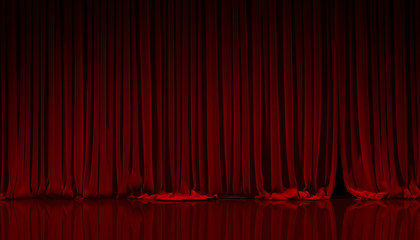 Red curtain in theater.