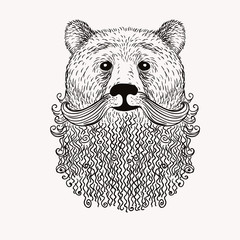 Sketch Bear with a beard. Hand drawn vector  illustration. Doodl