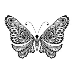 Zentangle stylized black Butterfly. Hand Drawn vector illustrati