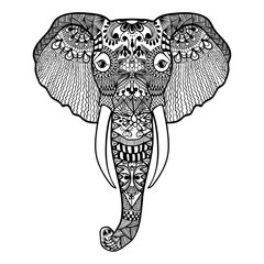 Zentangle stylized Elephant. Hand Drawn lace vector illustration