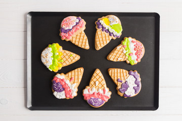 Colorful ice cone shape gingerbread cookies