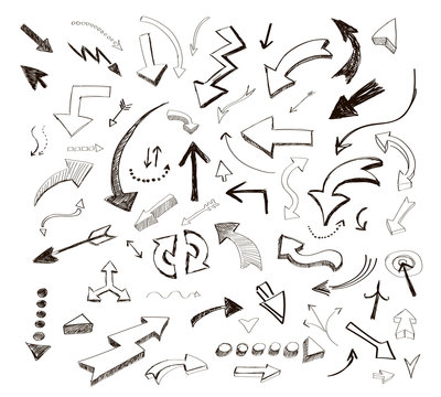 vector hand drawn arrows icons set on white