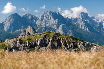 Wall Mural - View of Monte Ferro, Passo Sesis, Carnic Alps, Dolomites, Italy