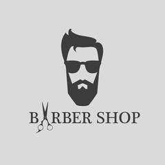 design concept of the logo, badge, label, on Barbershop men's hipster hairdresser