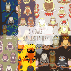 Set of six seamless patterns with birds.