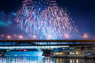 Fireworks over Moscow river, Russia