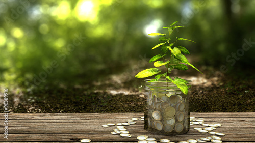 plant growing from money jar concept of financial investment stockfotos und lizenzfreie. Black Bedroom Furniture Sets. Home Design Ideas