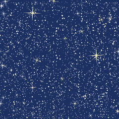 Seamless pattern of stars on dark blue sky. Texture for wallpaper, web design, fabrics and wrappers.