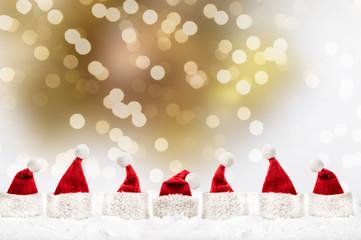 golden christmas card red santa
