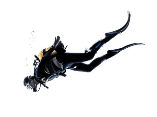 Wall Murals Diving man scuba diver diving silhouette isolated