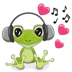 Frog with headphones