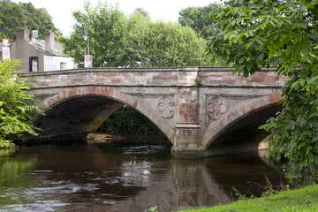 Historic stone bridge over the River Eden in Appleby, UK
